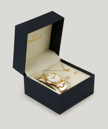 0ce43039d72 Kit de Relógio Analógico Champion Feminino + Colar + Brinco - CN29883J  Dourado - cea