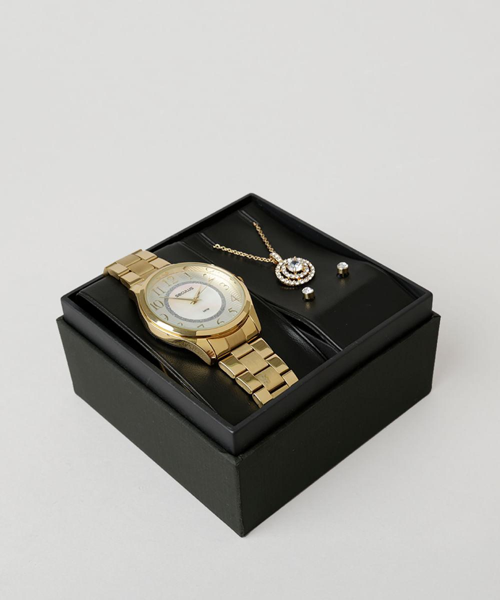 30bd72c80bd Kit de Relógio Analógico Seculus Feminino + Colar + Brinco - 77020LPSVDS1K  Dourado - Único