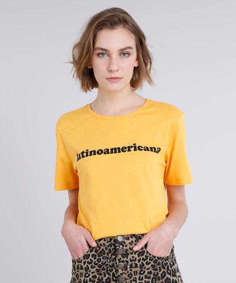 T-Shirt-Feminina-Manga-Curta-Oversized--Latinoamericana--Mostarda-9274486-Mostarda_1