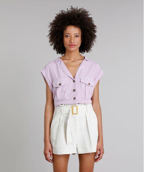 98f31333c Camisa Feminina Mindset Cropped com Bolsos Manga Curta Lilás - cea