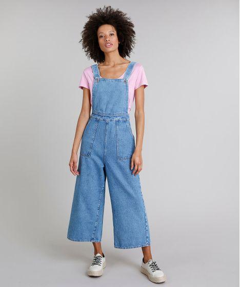971fb36ff Macacão Jeans Feminino Mindset Pantacourt com Bolsos Azul Claro - cea