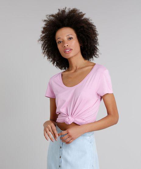 T-Shirt-Feminina-Manga-Curta-Decote-Redondo-Lilas-9302884-Lilas_1