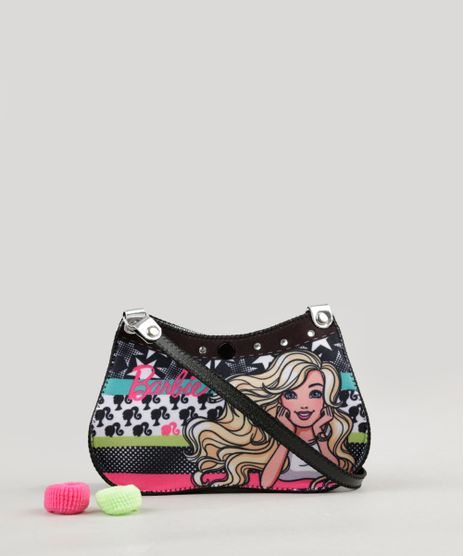 Bolsa-Infantil-Estampada-da-Barbie---Elasticos-de-Cabelo-Preta-9127468-Preto_1
