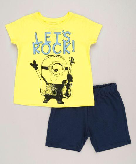 Conjunto-Infantil-Minion-de-Camiseta-Manga-Curta-Amarela---Bermuda-em-Moletom-Azul-Marinho-9263079-Azul_Marinho_1