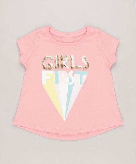Blusa-Infantil--Girls-First--com-Paetes-Manga-Curta-Decote-Redondo-Rosa-9264823-Rosa_1