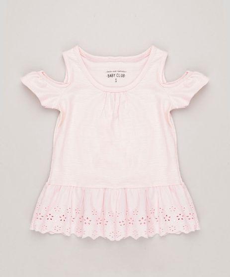 Blusa-Infantil-Open-Shoulder-com-Babado-e-Laise-Manga-Curta-Decote-Redondo-em-Algodao---Sustentavel-Rosa-Claro-9235096-Rosa_Claro_1