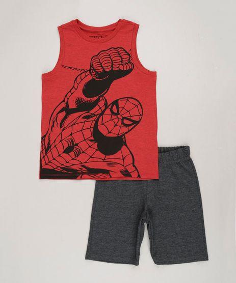Conjunto-Infantil-Homem-Aranha-de-Regata-Gola-Careca-Vermelha---Bermuda-em-Moletom-Cinza-Mescla-Escuro-9243535-Cinza_Mescla_Escuro_1