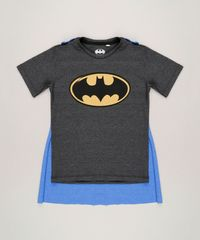 581d49758 Camiseta Infantil Batman com Capa Removível Manga Curta Gola Careca ...
