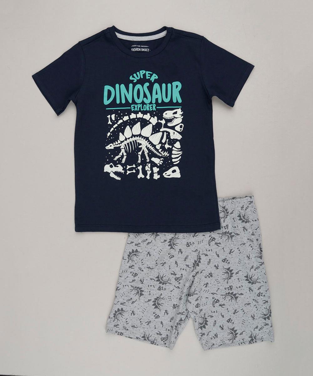5556847b4ec9d Pijama Infantil com Estampa de Dinossauro que Brilha no Escuro Manga Curta  Gola Careca Azul Marinho