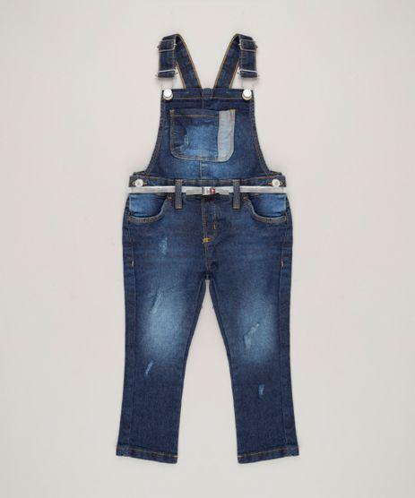 Macacao-Jeans-Infantil-com-Puidos-e-Cinto-Azul-Escuro-9140484-Azul_Escuro_1