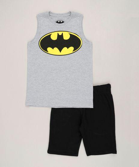 Conjunto-Infantil-Batman-de-Regata-Gola-Careca-Cinza-Mescla---Bermuda-em-Moletom-Preta-9243542-Preto_1