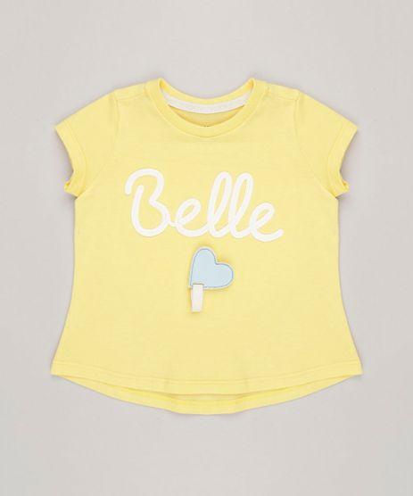 Blusa-Infantil--Belle--com-Estampa-Interativa-Manga-Curta-Decote-Redondo-Amarela-9264822-Amarelo_1