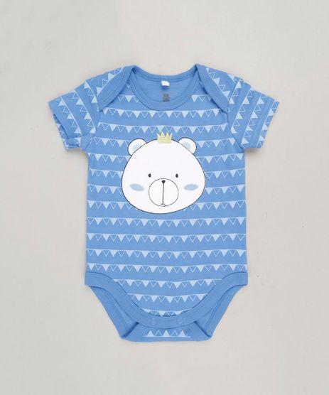 Body-Infantil-Ursinho-Estampado-Geometrico-Manga-Curta-Gola-Careca-em-Algodao---Sustentavel-Azul-9110024-Azul_1