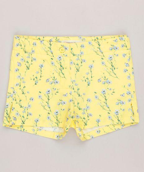 Short-Infantil-Estampado-Floral-em-Algodao---Sustentavel-Amarelo-9158422-Amarelo_1