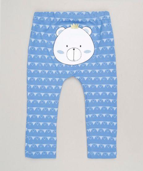 Calca-Infantil-Ursinho-Estampada-Geometrica-em-Algodao---Sustentavel-Azul-9110022-Azul_1