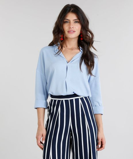 Camisa-Feminina-Ampla-Manga-Longa-Decote-V-Azul-Claro-9267716-Azul_Claro_1