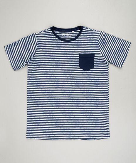 Camiseta-Infantil-Listrada-com-Estampa-de-Folhagens-e-Bolso-Manga-Curta-Gola-Careca-em-Algodao---Sustentavel-Off-White-9233492-Off_White_1