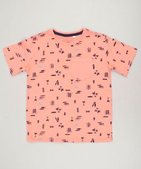 Camiseta-Infantil-Estampada-com-Bolso-Manga-Curta-Gola-Careca-Coral-9235187-Coral_1