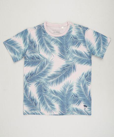 Camiseta-Infantil-Estampada-de-Folhagens-Manga-Curta-Gola-Careca-em-Algodao---Sustentavel-Rose-9232540-Rose_1