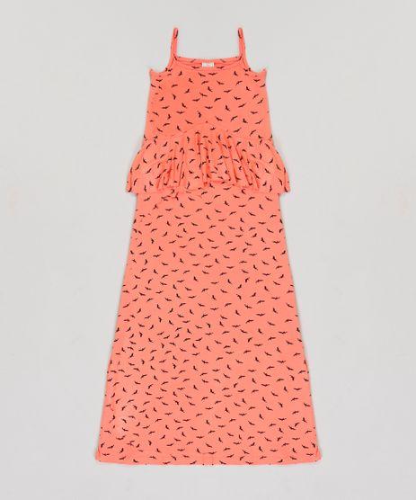 Vestido-Infantil-Longo-Estampado-de-Passaros-com-Babado-Sem-Manga-Coral-9245415-Coral_1
