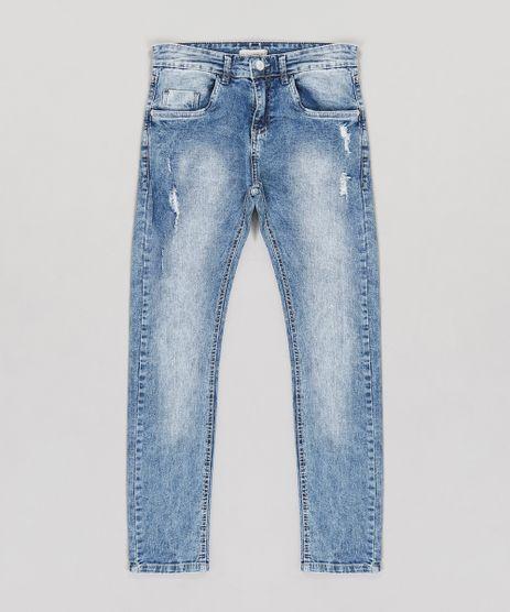 Calca-Jeans-Infantil-Skinny-com-Puidos-e-Bolsos-Azul-Medio-9226867-Azul_Medio_1