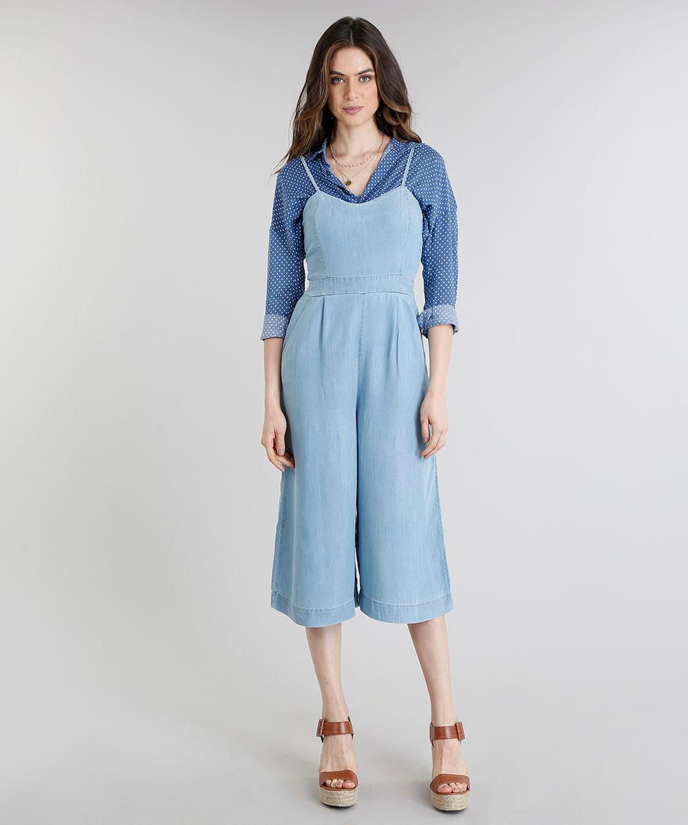 721f6937d Macacão Jeans Feminino Pantacourt com Bolsos Azul Claro - ceacollections