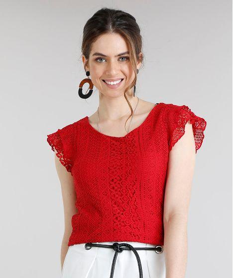 308011bb70 Blusa Feminina com Renda Manga Curta Decote Redondo Vermelha - cea