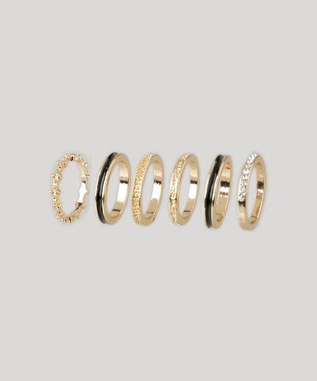 Kit-de-6-Aneis-Femininos-com-Textura-Dourado-8439278-Dourado_1