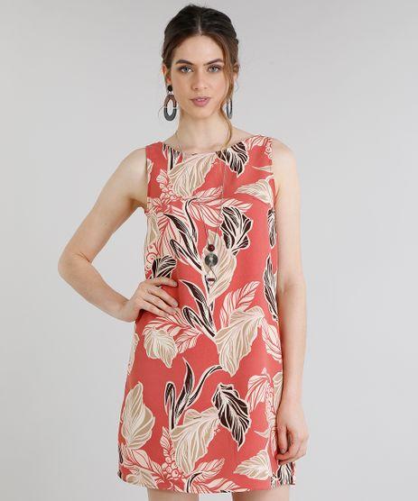 Vestido-Feminino-Curto-Estampado-de-Folhagens-Decote-Redondo-Coral-9199207-Coral_1