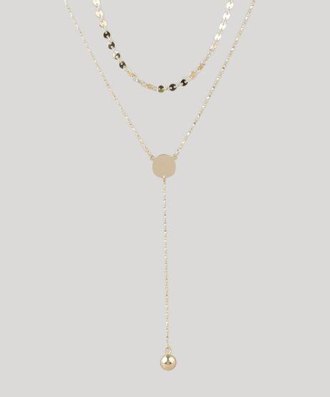 Colar-Feminino-Duplo-com-Pingente-Esferico-Dourado-9204061-Dourado_1