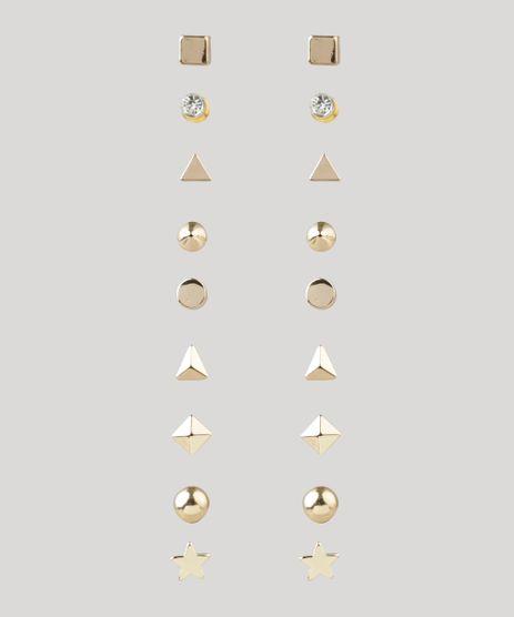 Kit-de-9-Brincos-Femininos-Geometricos-Dourado-9203333-Dourado_1