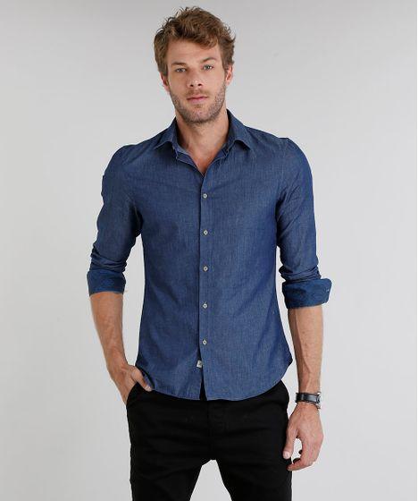 305c51b5543fe Camisa Jeans Masculina Slim Manga Longa Azul Escuro - cea