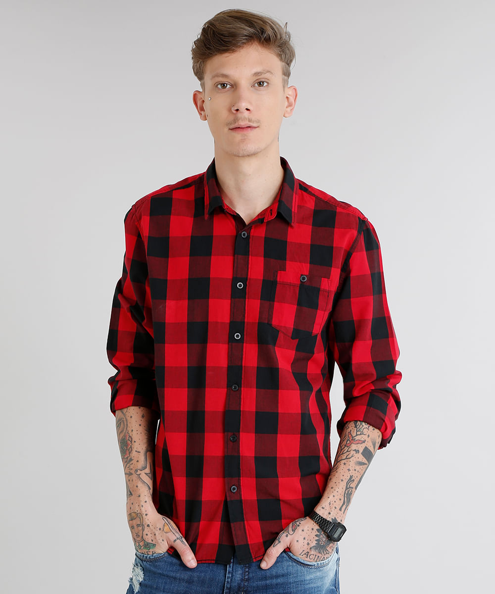 ece09f265c Camisa Masculina Xadrez com Bolso Manga Longa Vermelha - cea