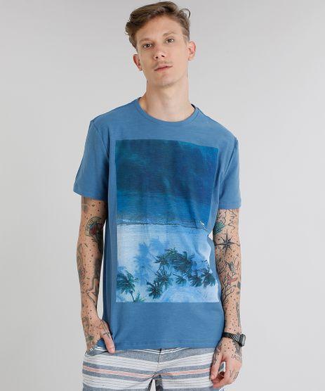 Camiseta-Masculina-com-Estampa-de-Coqueiros-Manga-Curta-Gola-Careca-Azul-9229800-Azul_1