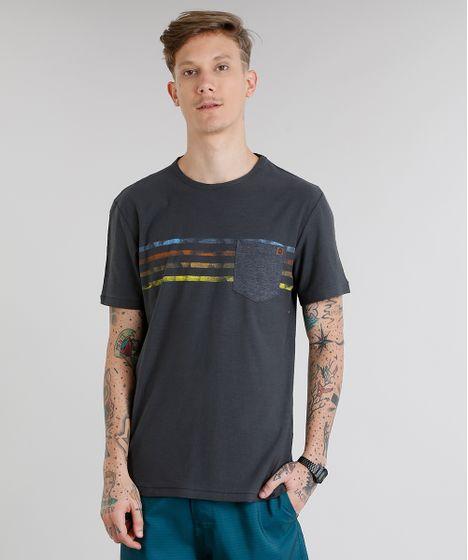 4db0d66642 Camiseta Masculina com Bolso e Listras Manga Curta Gola Careca ...