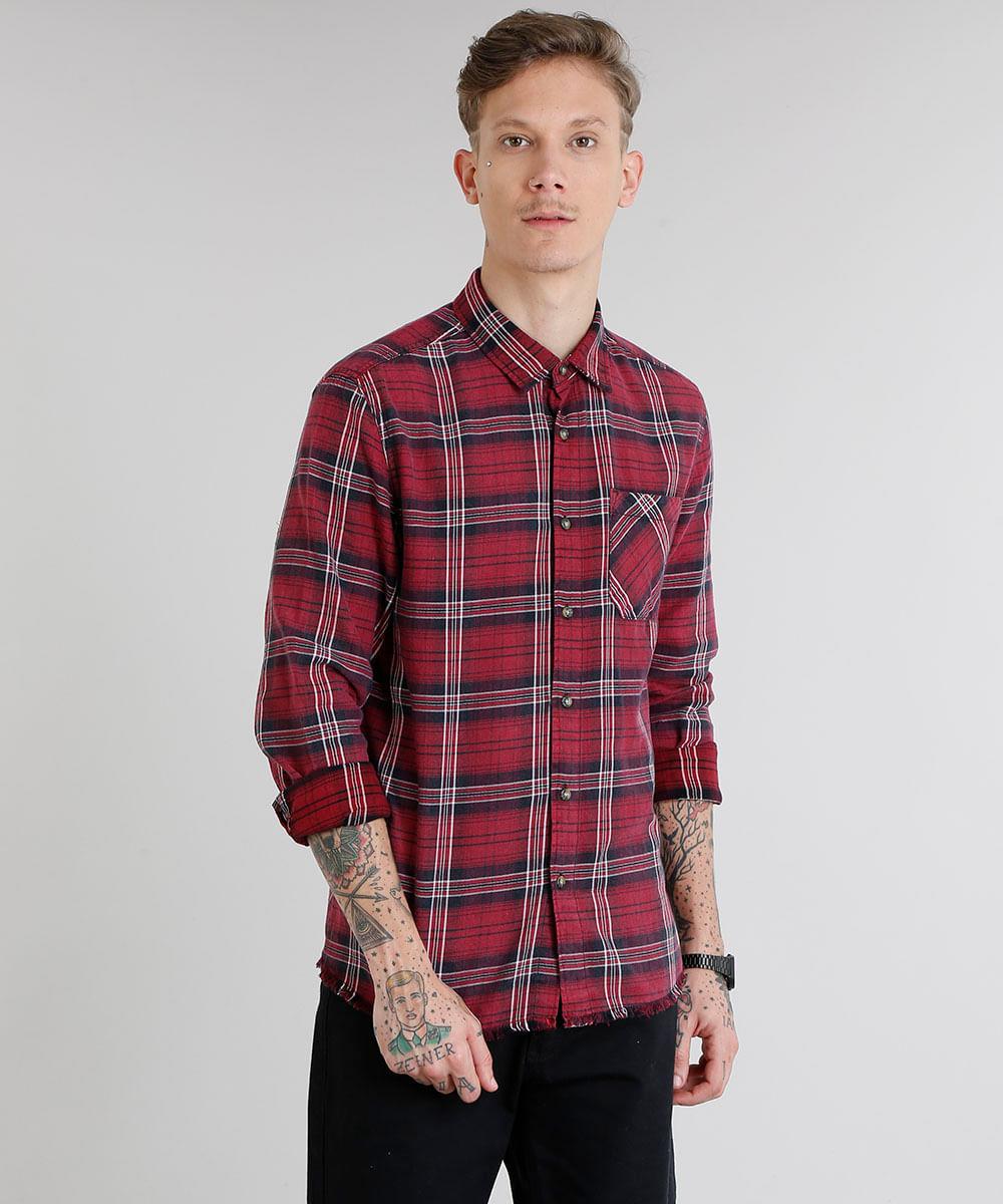 d1ab0e12db Camisa Masculina em Flanela Xadrez com Bolso Manga Longa Vinho - cea