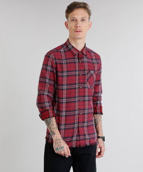 Camisa-Masculina-em-Flanela-Xadrez-com-Bolso-Manga-Longa-Vinho-9082967-Vinho_1