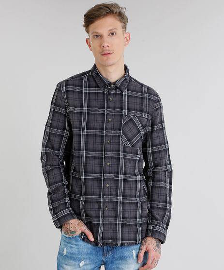 Camisa-Masculina-em-Flanela-Xadrez-com-Bolso-Manga-Longa-Chumbo-9082967-Chumbo_1
