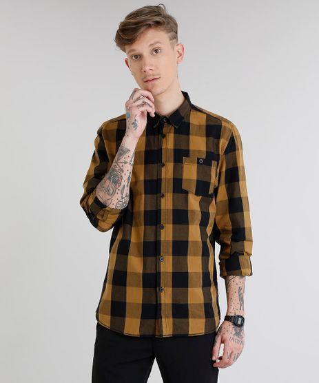 Camisa-Masculina-Xadrez-com-Bolso-Manga-Longa-Caramelo-8448777-Caramelo_1
