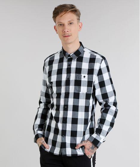 ef0ed3a26 Camisa Masculina Xadrez com Bolso Manga Longa Branca - cea