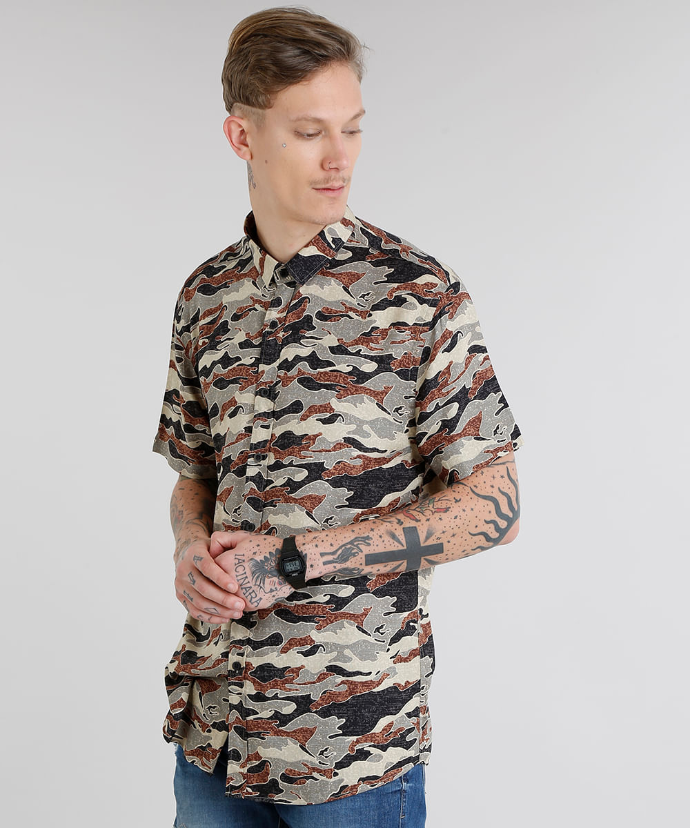 74fadc2ef2da3 ... Camisa-Masculina-Estampada-Camuflada-Manga-Curta-Preta-9186041-