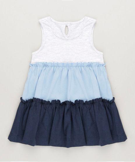 Vestido-Infantil-Curto-com-Recortes-e-Babado-Sem-Manga-Decote-Redondo-Cinza-Mescla-Claro-9234399-Cinza_Mescla_Claro_1