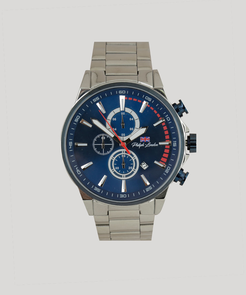 887a9c60277 Relógio Cronógrafo Philiph London Masculino - PL80020633M Prateado - cea