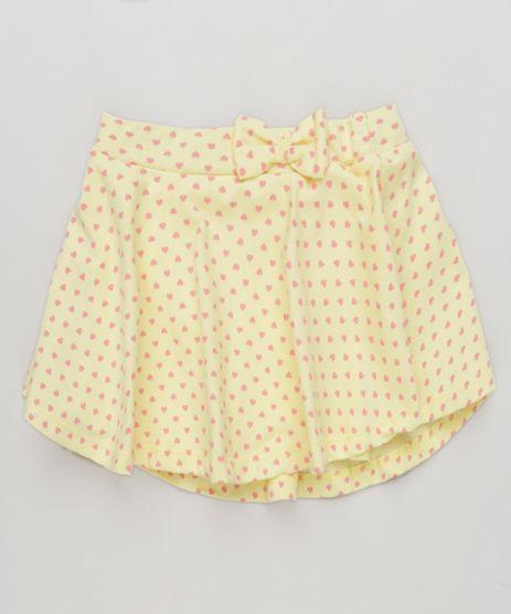Short-Saia-Infantil-Estampado-de-Coracoes-com-Laco-em-Algodao---Sustentavel-Amarelo-9280460-Amarelo_1