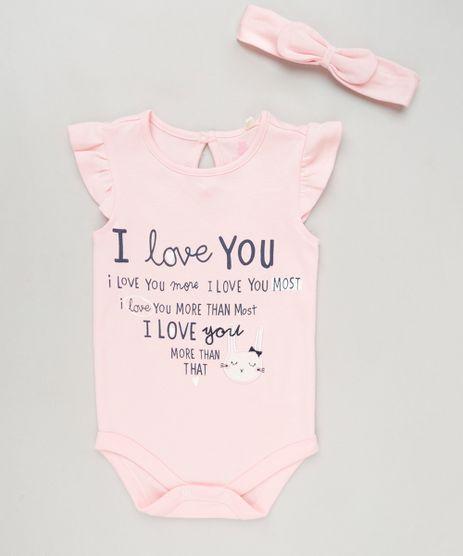 Body-Infantil--I-Love-You--com-Babado-Sem-Manga---Faixa-de-Cabelo-em-Algodao---Sustentavel-Rosa-9117941-Rosa_1