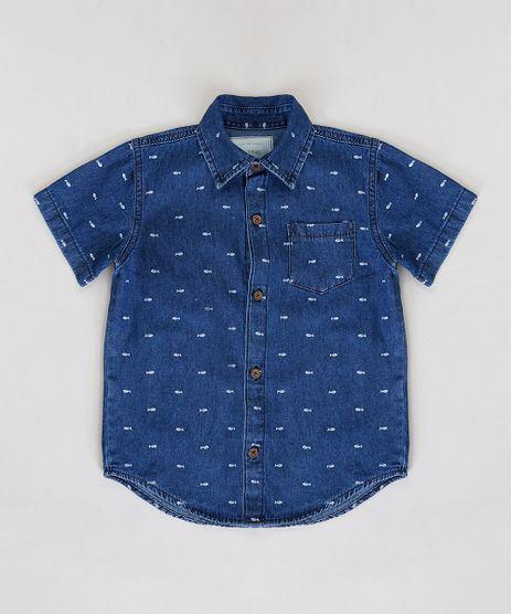 Camisa-Jeans-Infantil-Estampada-Mini-Print-de-Espinha-de-Peixe-com-Bolso-Manga-Curta-Azul-Escuro-9235819-Azul_Escuro_1