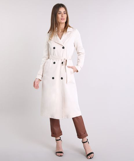 Casaco-Feminino-Trench-Coat-com-Faixa-para-Amarrar-Bege-Claro-9089305-Bege_Claro_1