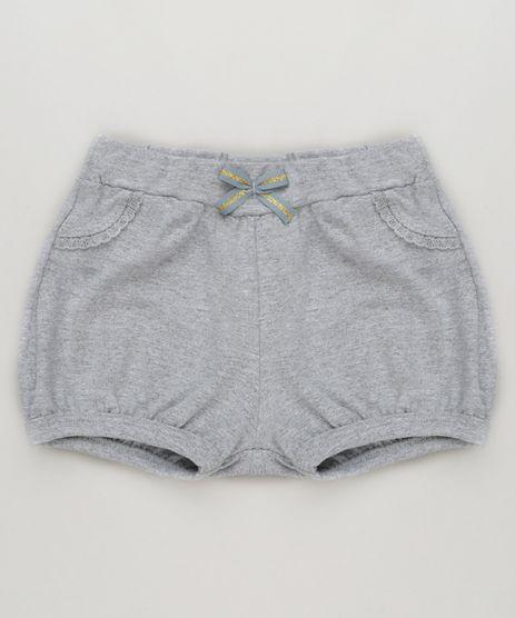 Short-Infantil-com-Laco-em-Algodao---Sustentavel-Cinza-Mescla-9148666-Cinza_Mescla_1