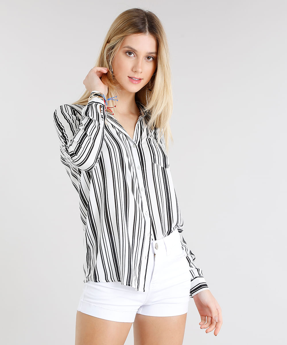 c57c67ff9e Camisa Feminina Listrada com Bolso Manga Longa Off White - cea