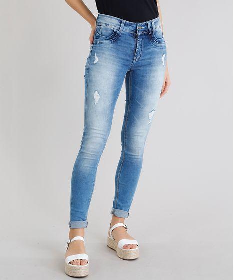0d1ac83c8 Calça Jeans Feminina Sawary Super Skinny Levanta Bumbum com Puídos ...